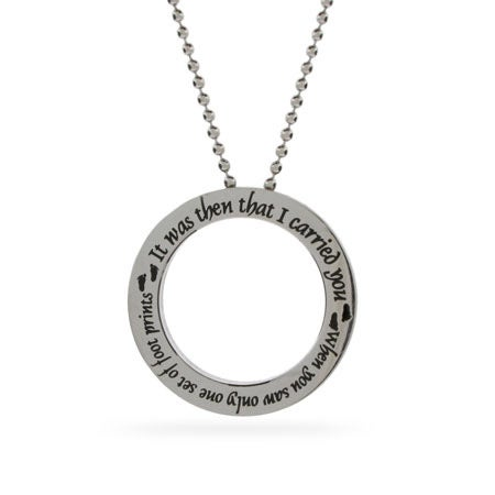Footprints In The Sand Stainless Steel Disc Necklace