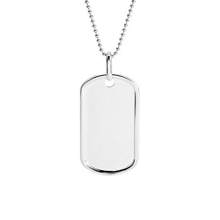 Medium Sterling Silver Dog Tag Pendant | Eve's Addiction
