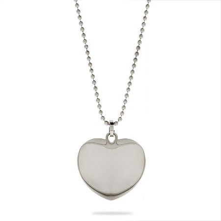 Engravable Petite Puffed Heart Stainless Steel Pendant