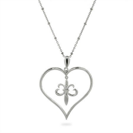 Fleur De Lis Heart Silver Pendant