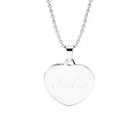 Engravable Puffed Heart Stainless Steel Necklace