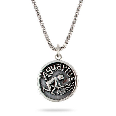 Aquarius Zodiac Sterling Silver Pendant | Eve's Addiction