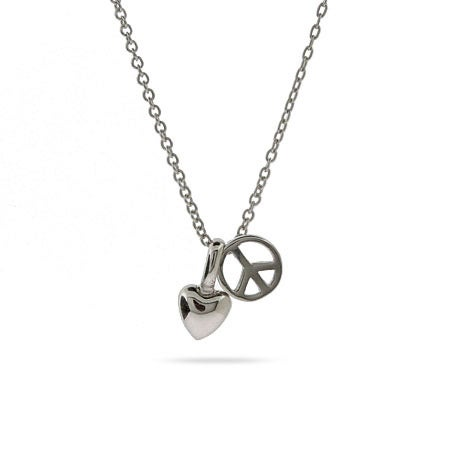 Sterling Silver Peace and Love Petite Charm Necklace