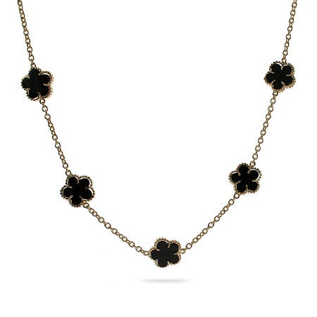 Designer Style Gold Vermeil Onyx Clover Necklace