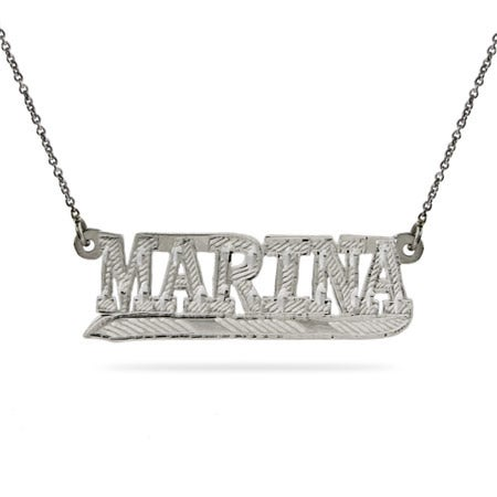 Sterling Silver Block Style Custom Name Plate