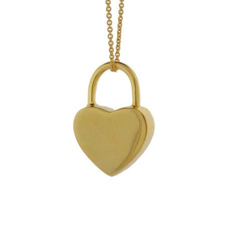 Gold Vermeil Engravable Locked Heart Pendant