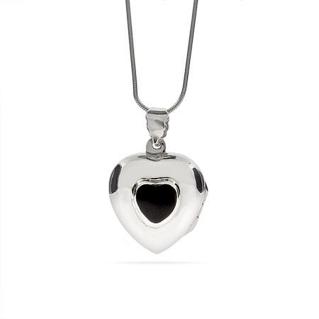 Engravable Onyx Silver Heart Locket