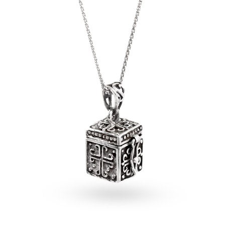 sterling silver religious prayer box pendant
