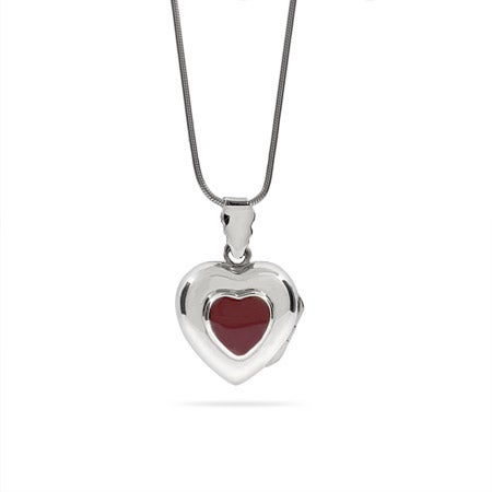 Sterling Silver Engravable Red Heart Locket