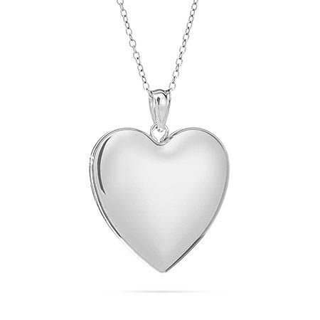Engravable Plain Silver Heart Locket