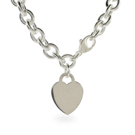 Engravable Heavy Heart Charm ID Necklace | Eve's Addiction