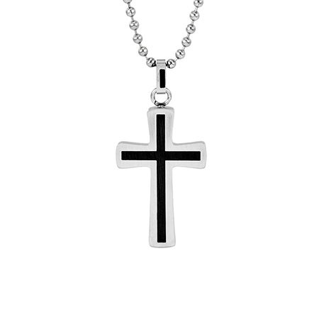 Stainless Steel Black Inlay Cross Pendant