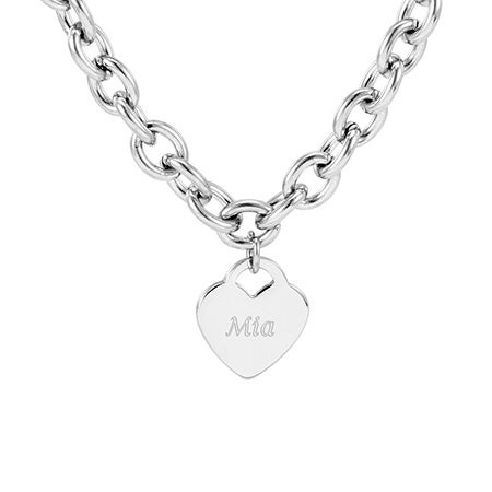 Designer Style Stainless Steel Heart Tag Necklace | Eve's Addiction®