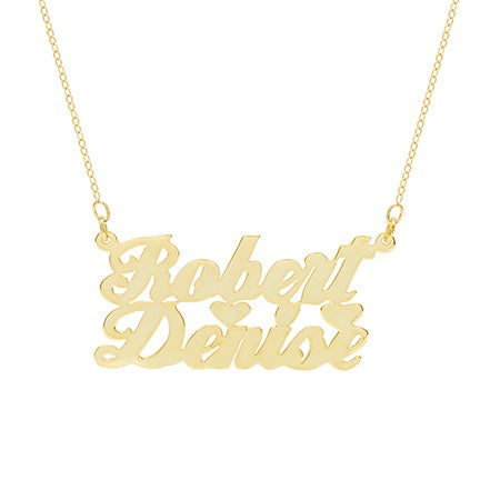 14K Gold Plated Couple's Script Name Plate Necklace