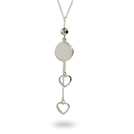 Engravable Round Tag Heart Drop Necklace