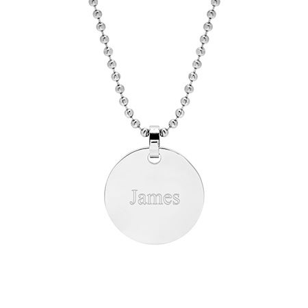 Engravable Medium Stainless Steel Round Tag Pendant | Eve's Addiction®