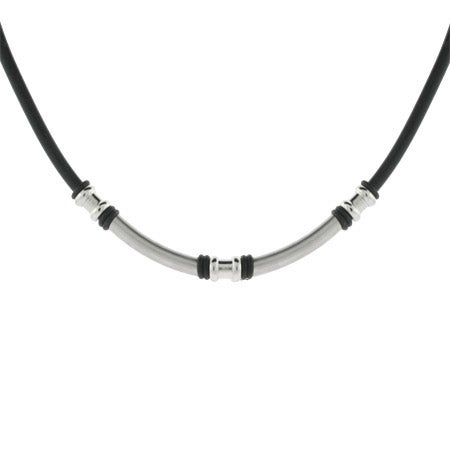 Men's Black Stainless Steel Linked Rod Necklace