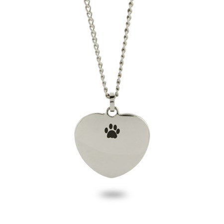 Engravable Unconditional Love Paw Print Necklace