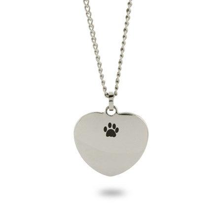 Engravable Unconditional Love Paw Print Necklace