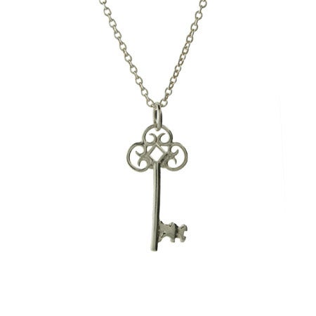 Vintage Style Sterling Silver Key Necklace