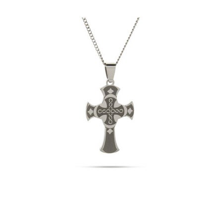 Engraved Celtic Style Stainless Steel Cross Necklace