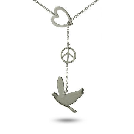 Peace Dove Sterling Silver Lariat
