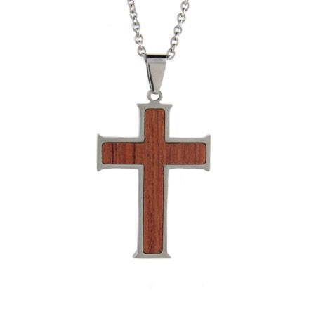 Wooden Cross Stainless Steel Engravable Pendant