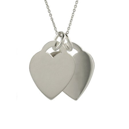 Tiffany Style Engravable Double Heart Pendant