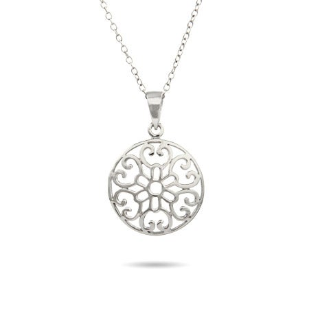 Sterling Silver Filigree Circle Necklace