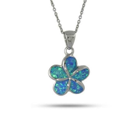 Sterling Silver Blue Opal Plumeria Pendant