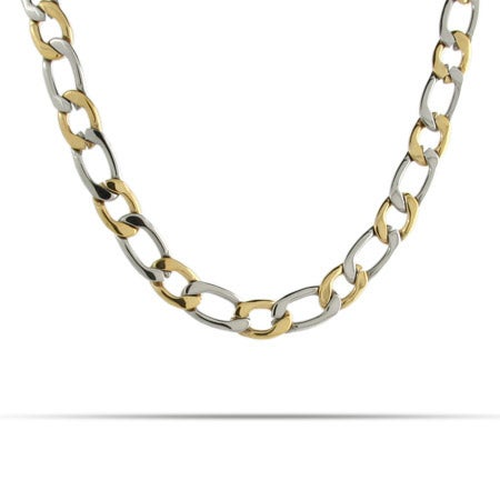 Mens Two Tone Curb Link Stainless Steel Chain
