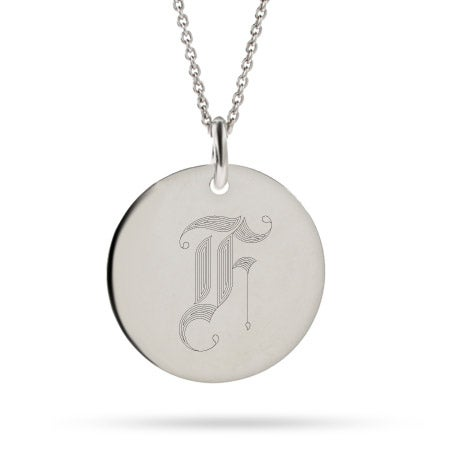 Old English Initial Round Tag Pendant