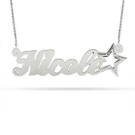 Customized Sterling Silver Star Nameplate Necklace | Eve's Addiction