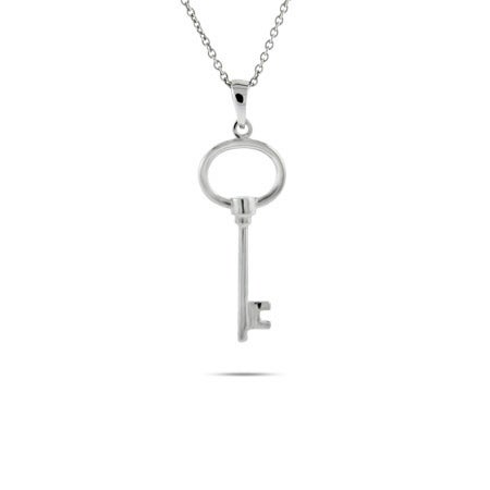 Sterling Silver Petite Oval Key Pendant | Eve's Addiction®