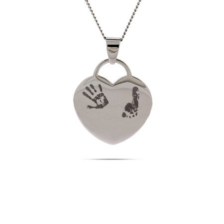 Engravable Baby Handprint and Footprint Heart Necklace