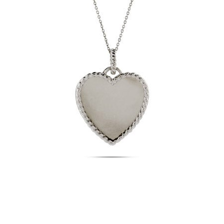 Engravable Heart Pendant with Cable Border