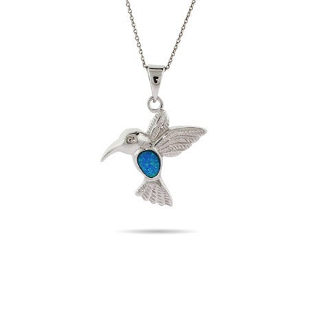 Sterling Silver and Opal Hummingbird Pendant
