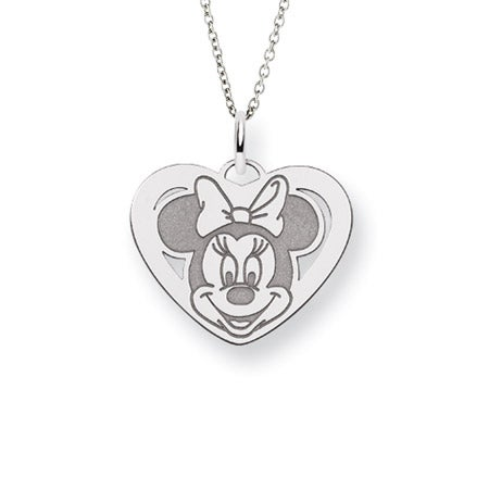 Sterling Silver Minnie Mouse Heart Charm Pendant
