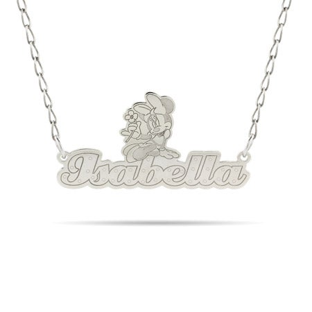 Sterling Silver Minnie Mouse Nameplate Necklace