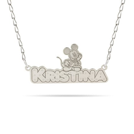 Sterling Silver Disney Mickey Mouse Nameplate Necklace