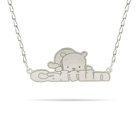 Sterling Silver Winnie The Pooh Nameplate Necklace