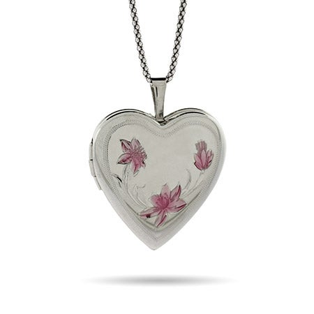 Pink Lotus Flower Engravable Sterling Silver Heart Photo Locket