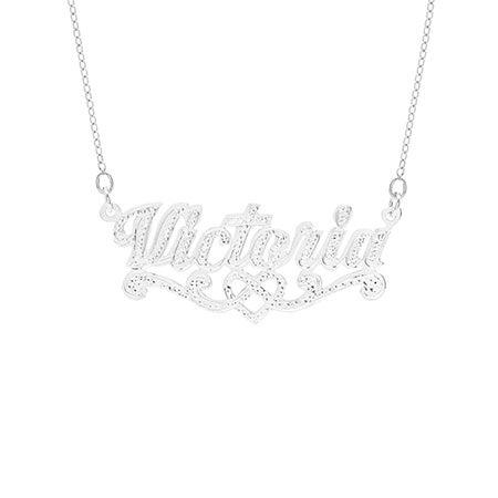 Sterling Silver Celtic Heart Custom Nameplate Necklace