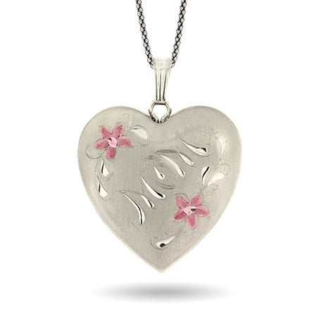 4 Photo Mom Sterling Silver Engravable Pink Flower Locket