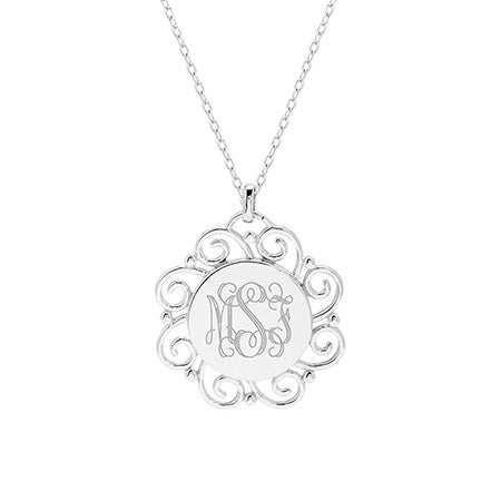Engravable Vintage Scroll Design Monogram Necklace