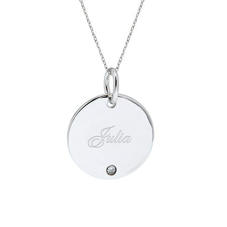 Custom Single Birthstone Silver Round Charm Necklace | Eve's Addiction®