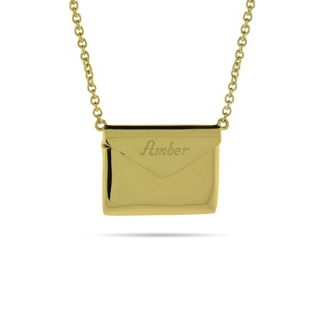 Engravable Gold Plated Secret Message Envelope Locket
