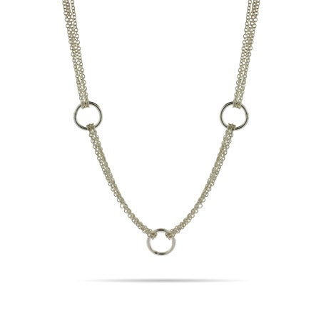 Tiffany Style Circles and Multi Chain Necklace