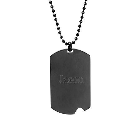 Engravable Black Plate Stainless Steel Dog Tag | Eve's Addiction
