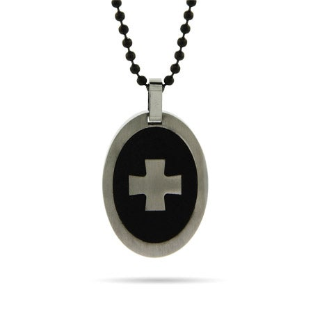 Engravable Oval Tag Cross Pendant